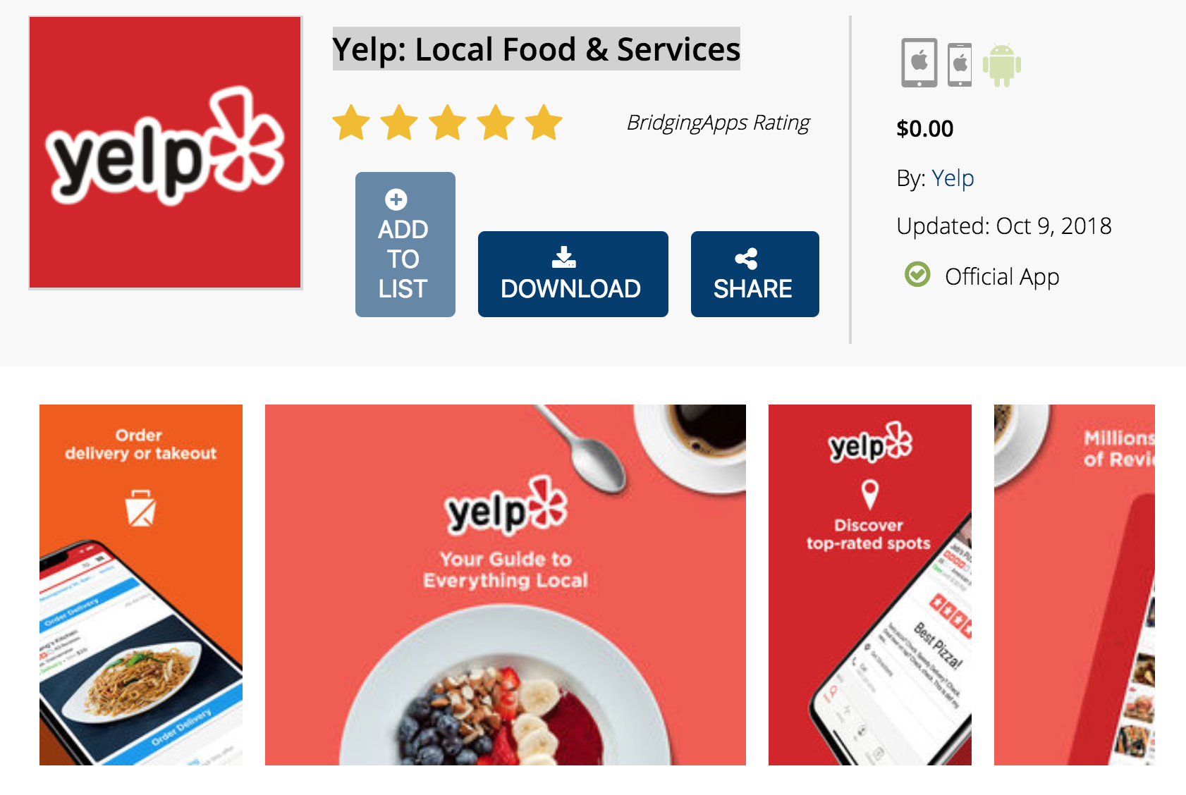BridgingApps Reviewed App | Yelp: Local Food & Services