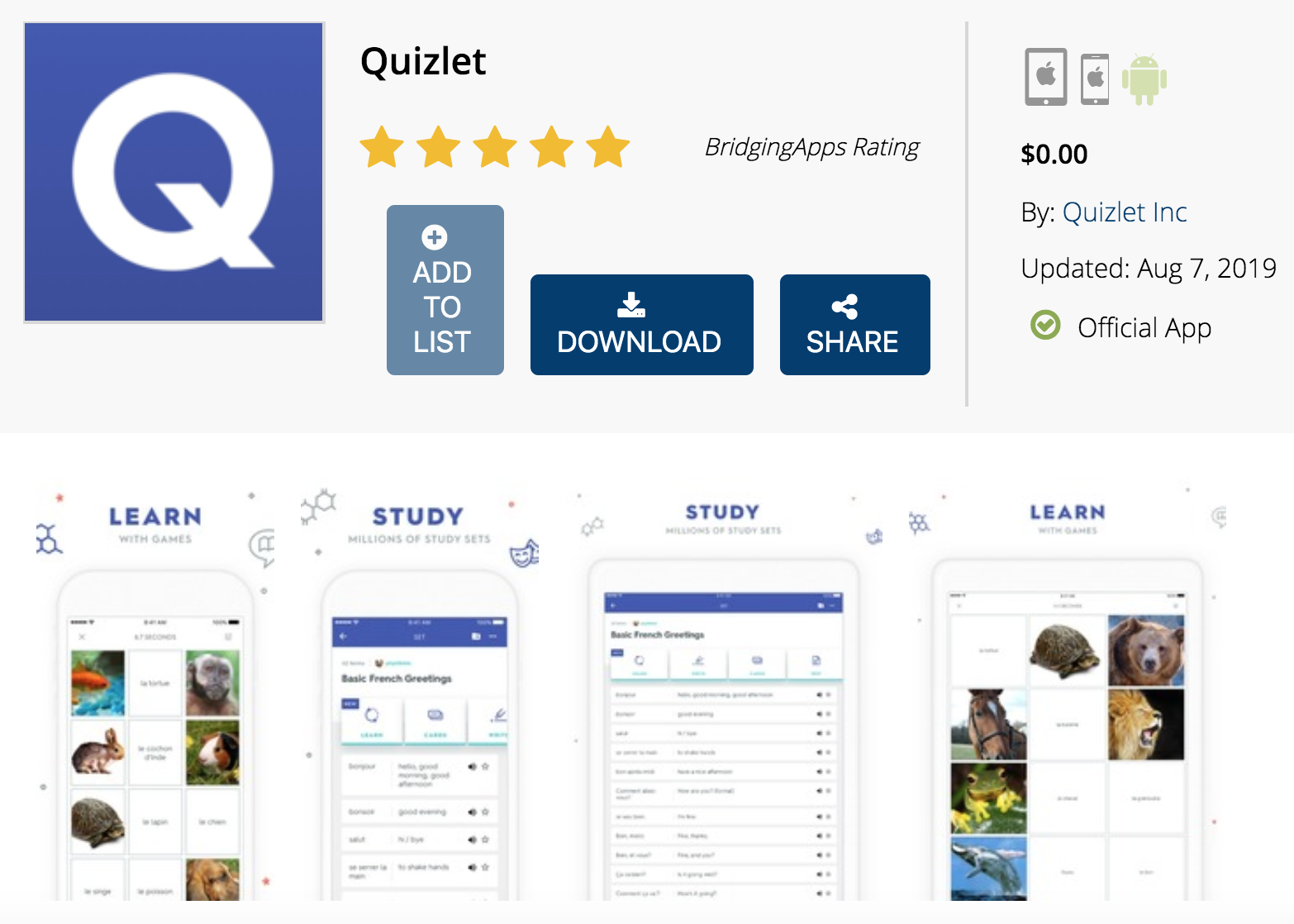 BridgingApps Back To School App   Quizlet - BridgingApps